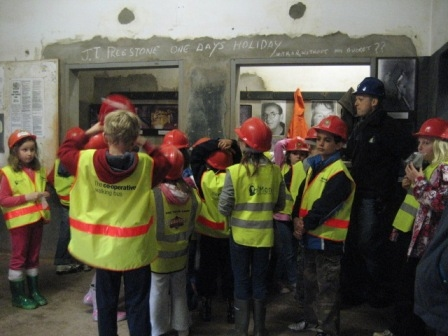 Children exploring the Miner's Dry.