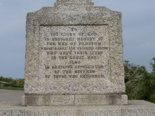Dedications on Padstow War Memorial
