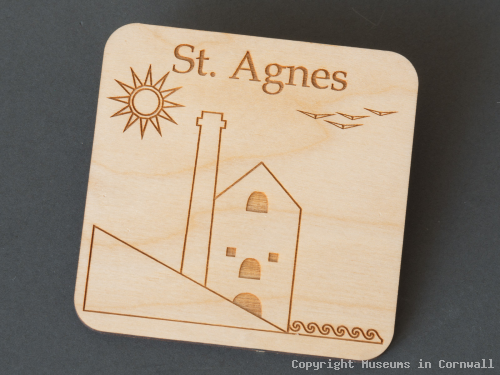 Coaster , Wooden laser cut St Agnes Engine House design product photo